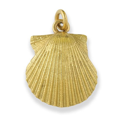18k Gold Scallop Shell Charm