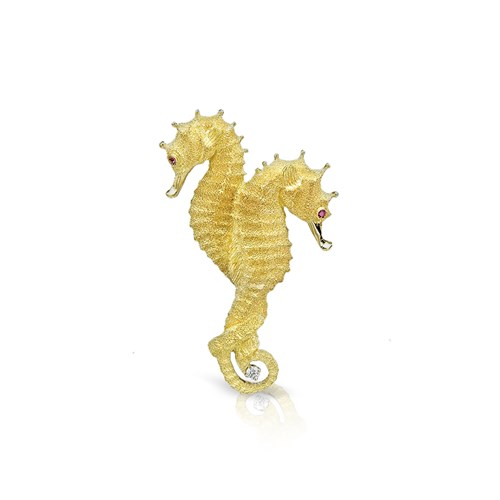 18k Gold Twin Seahorses Pin