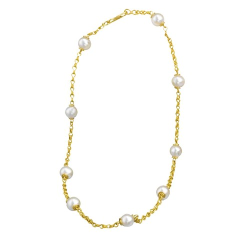 22k Gold Sailor's Knot Freshwater White Pearl Necklace
