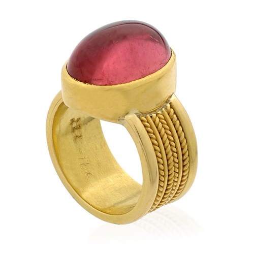 22k Gold Large Pink Tourmaline Cabochon Ring