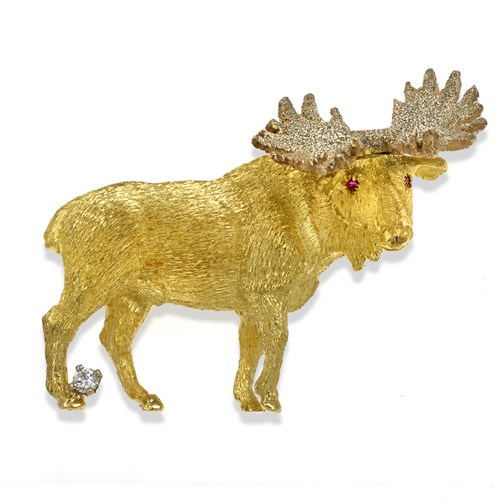 18K Gold Large Moose Pin