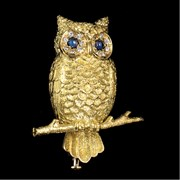 18k Yellow Gold Owl On Branch Pin