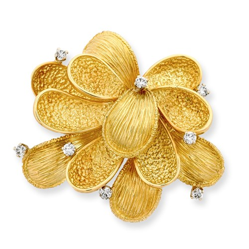 18k Gold & Diamond Textured Flower Pin