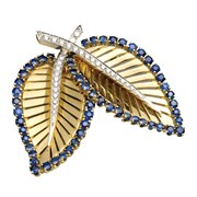 18k Gold Sapphire & Diamond Double Leaf Pin