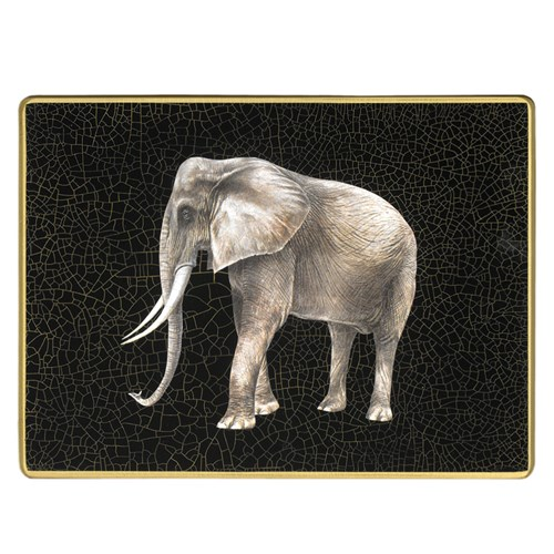 African Wildlife Large Glass Placemat, Elephant