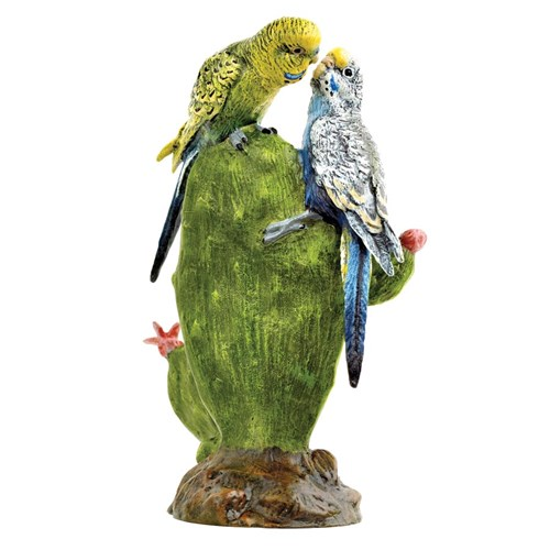 Austrian Bronze Two Parakeets on Cactus Figurine