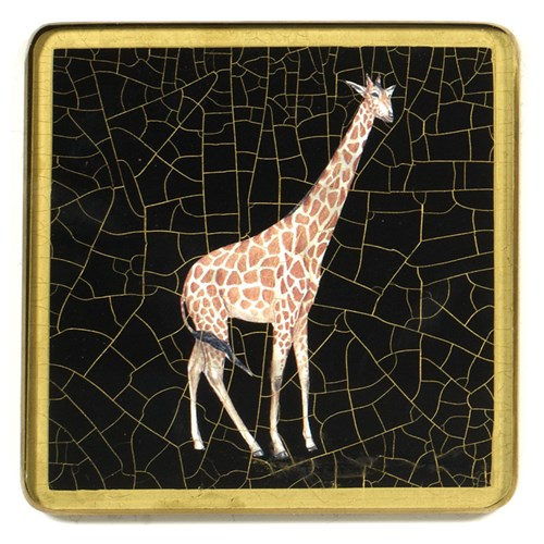 African Wildlife Square Glass Coaster, Giraffe