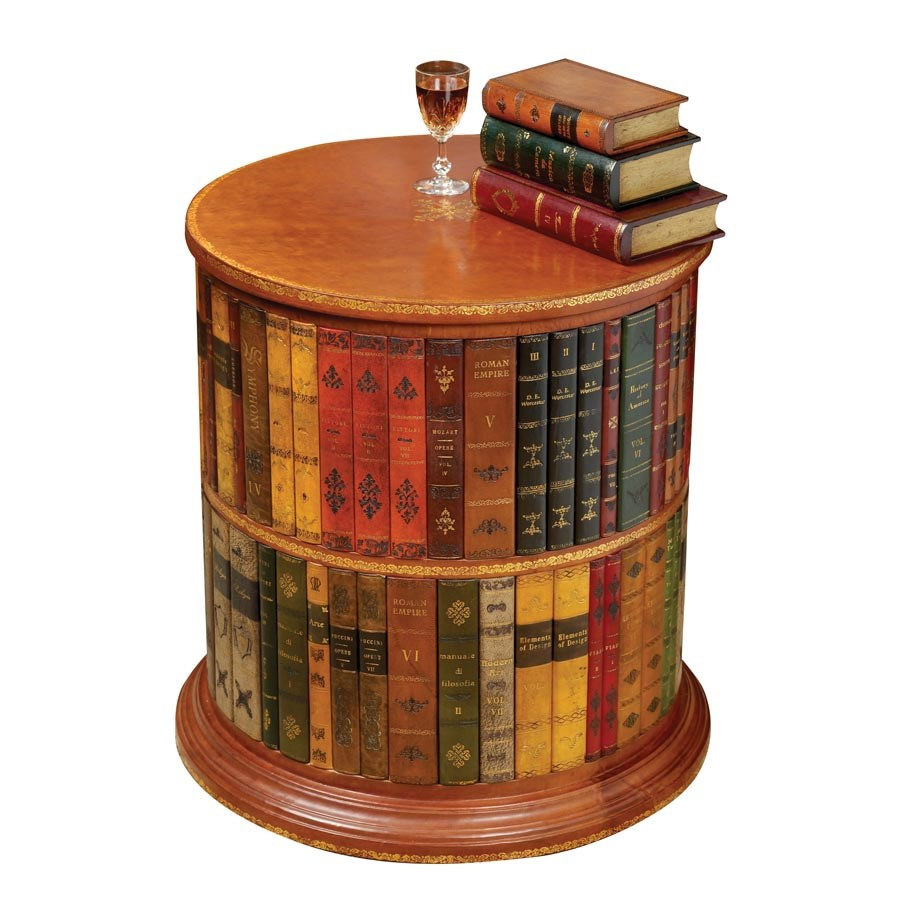 - Round Leather Books Bookstand Side Tables Tables Furniture