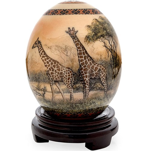 Decoupage Ostrich Egg with Giraffes