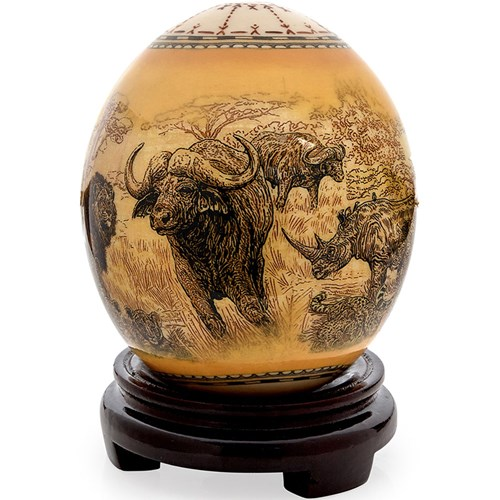 Decoupage Ostrich Egg with Big Five