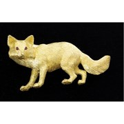 18k Yellow Gold Large Gold Fox Pin