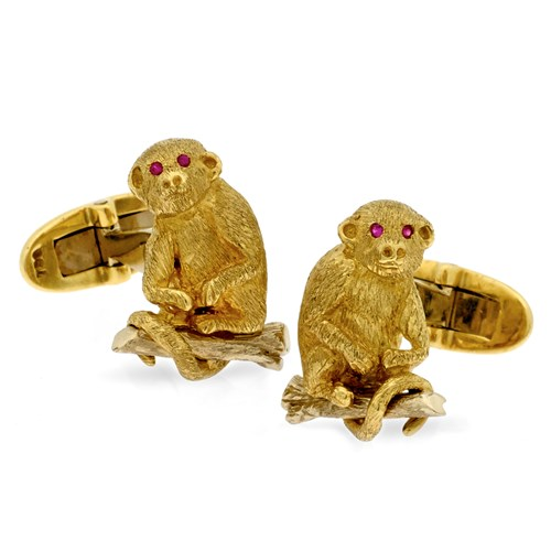 18k Gold Monkey Cufflinks with Ruby Eyes