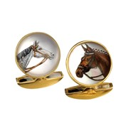 18k Horse Head Crystal Cufflinks