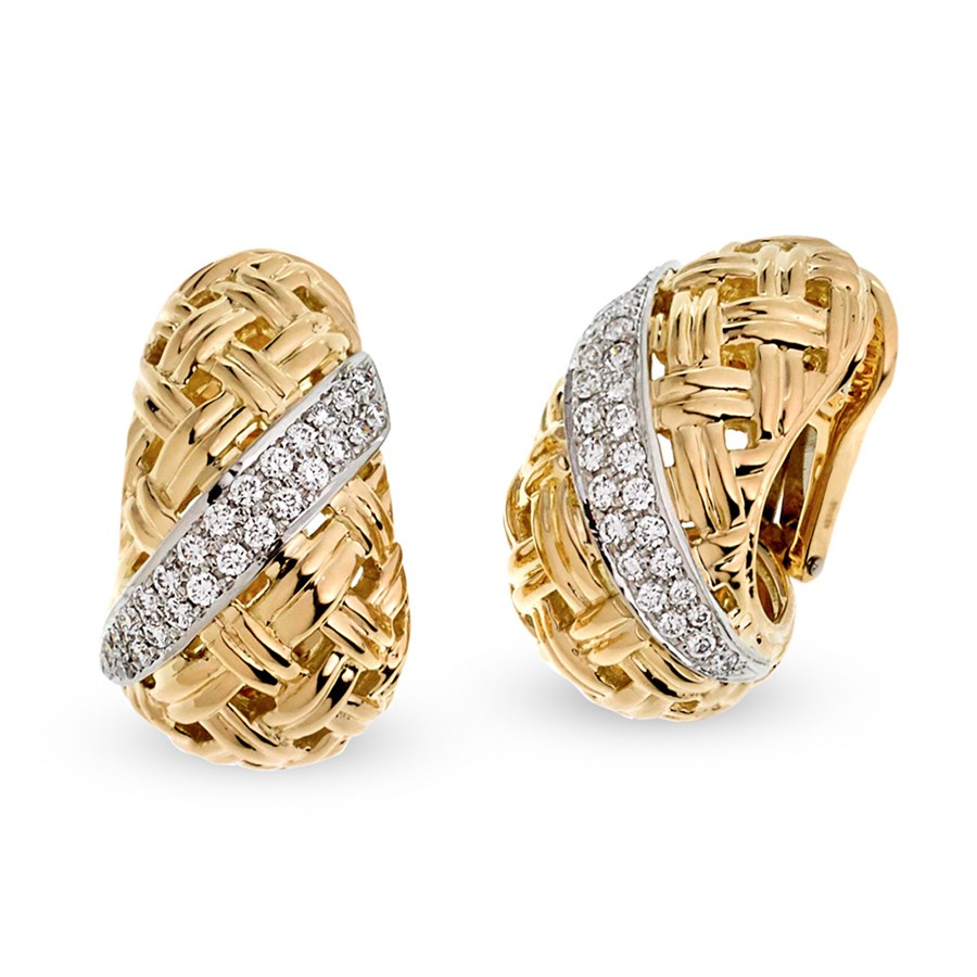 18k Yellow Gold Platinum Diamond Basketweave Earrings Clips Only