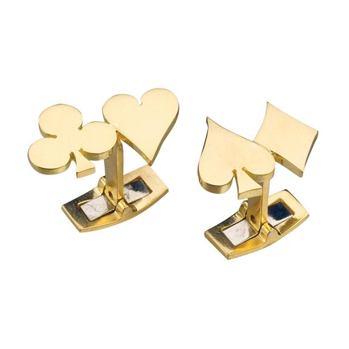 18k Yellow Gold Four Suits Cufflinks