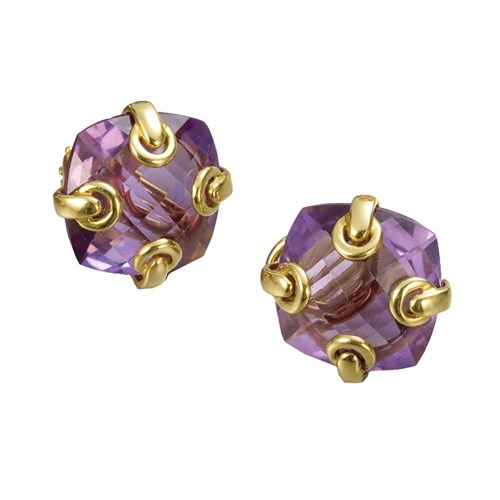 Amethyst Earrings with Grommets, Clips