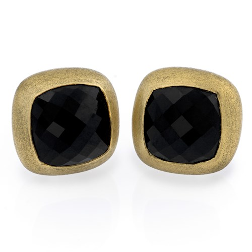 18k Gold Faceted Black Onyx Earrings, Clips
