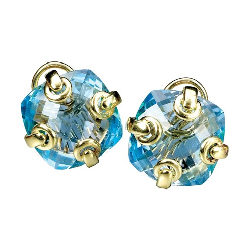 18k Gold Blue Topaz Earrings with Grommets