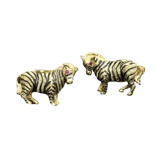 18k Gold Enamel Zebra Cufflinks Ruby Eyes