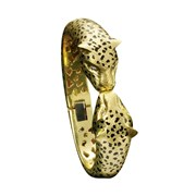18k Gold Cheetah Head with Diamond Eyes Hinged Bracelet