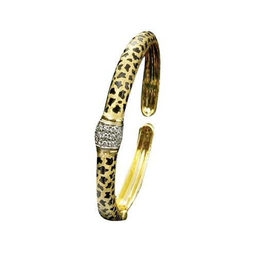 18k Gold Cheetah Wide Diamond Collar Bracelet