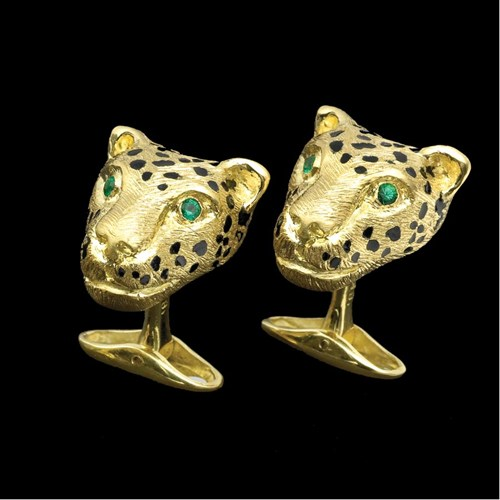 18k Gold Cheetah Head Cufflinks with Mouth Closed