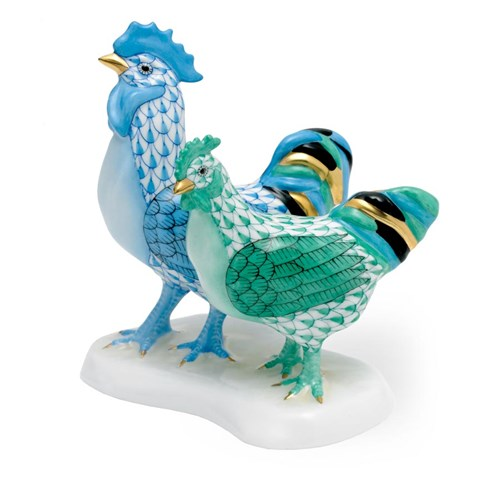 Herend Blue Rooster with Green Hen