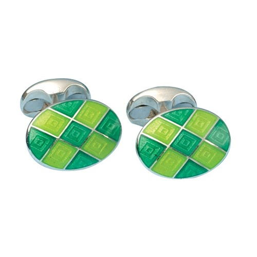 Sterling Silver Checked Cufflinks, Lime & Emerald