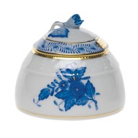 Herend Chinese Bouquet Blue Honey Pot with Rose Finial