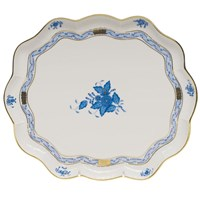 Herend Chinese Bouquet Blue Scalloped Tray