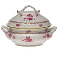 Herend Chinese Bouquet Raspberry Tureen with Branch Finial, Large