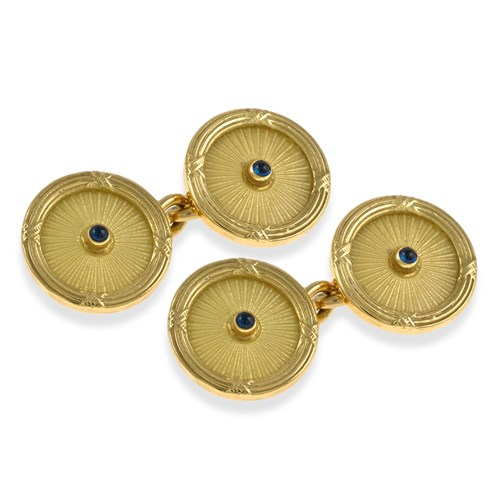 18k Gold and Enamel Cufflinks with Sapphire Center