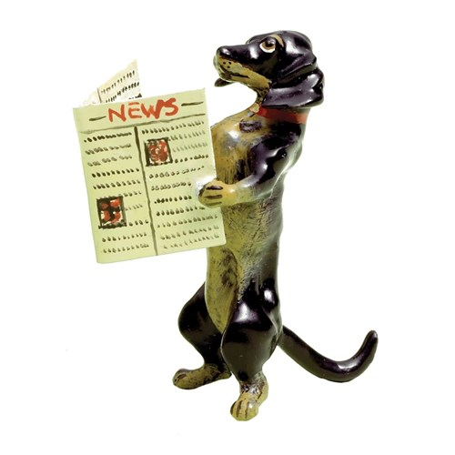 Austrian Bronze Dachshund Reading Newspaper Figurine
