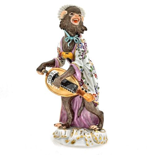Meissen Monkey with Lyre Figurine