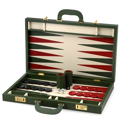Leather Backgammon Set in Green/Red/Ivory
