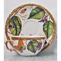 Anna Weatherley Wildberry Lavender Tea Cup & Saucer