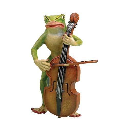 Austrian Bronze Large Frog Playing Bass