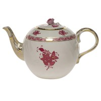 Herend Chinese Bouquet Raspberry Teapot with Rose, Small