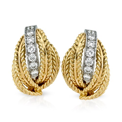 18k Gold Braided Rope Leaf Earrings, Clips