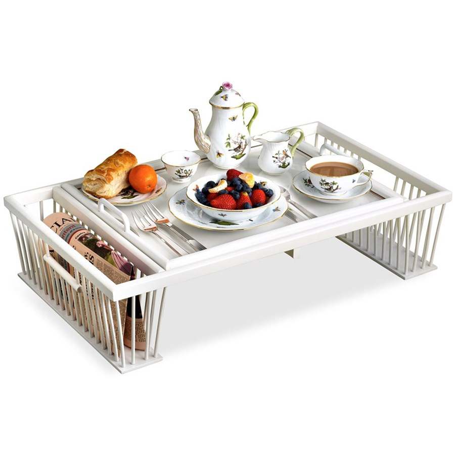 Breakfast Bed Tray With Reading Rack White Painted Wooden Decoupage Trays Home Decor Accessories Home Decor Scullyandscully Com