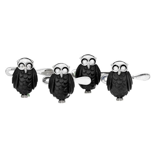 18k White Gold Carved Black Owls with Diamond Eyes Studs, Set of 4