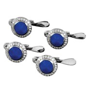 18k White Gold Royal Blue Studs with Diamonds, Set of 4