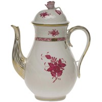 Herend Chinese Bouquet Raspberry Coffee Pot with Rose, Large