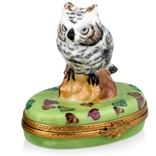 White Owl on Trunk Limoges Box