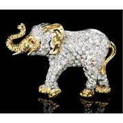 18k Yellow Gold Diamond Elephant Pin