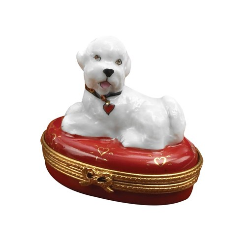Bichon Frise on Red Bed Limoges Box, Limited Edition