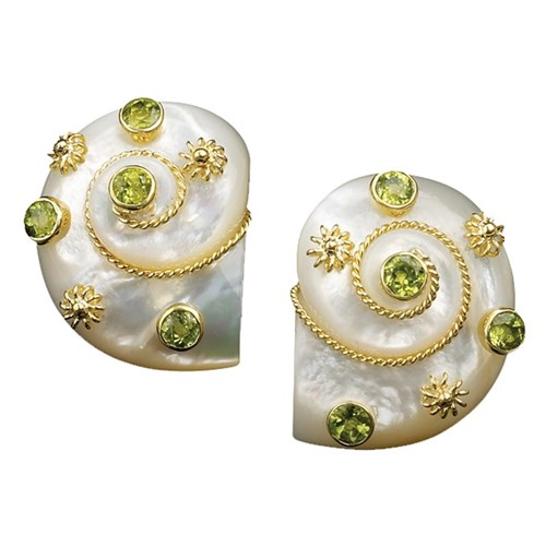 18k Mother of Pearl Turbo Shell Earrings, Clips