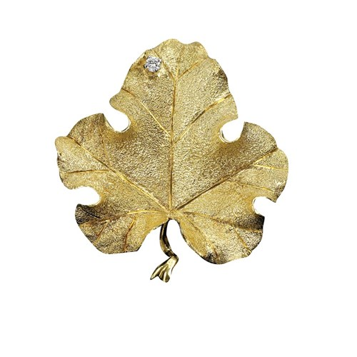 18k Yellow Gold Large Leaf Pin