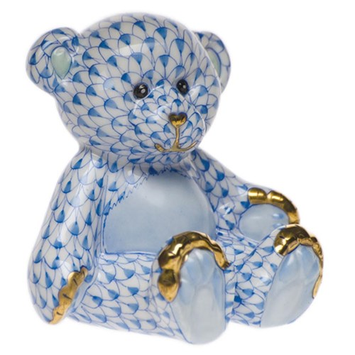 Herend Small Teddy Bear, Blue