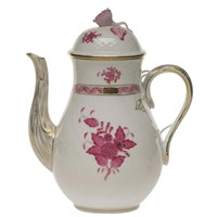 Herend Chinese Bouquet Raspberry Coffee Pot with Rose, Small